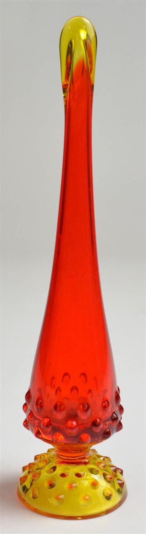 Swung Glass Vase Fenton Art Glass Swung Bud Vase Hobnail Amberina Orange