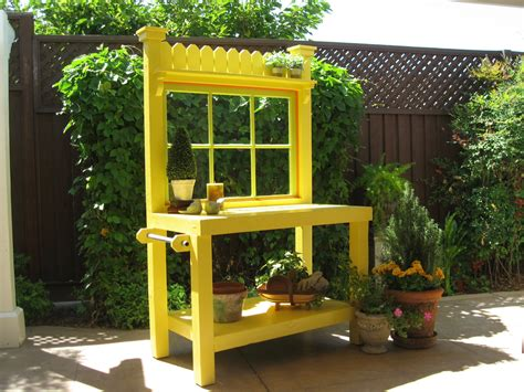 vintage potting bench yellow potting bench with vintage window