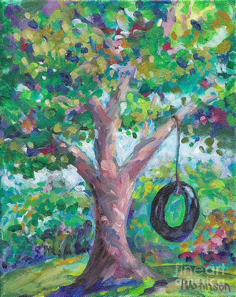 tree swing painting tire swing painting by peggy johnson