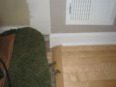 Baseboard Different Floor Heights by How Would You Handle This Baseboard Shoe Molding