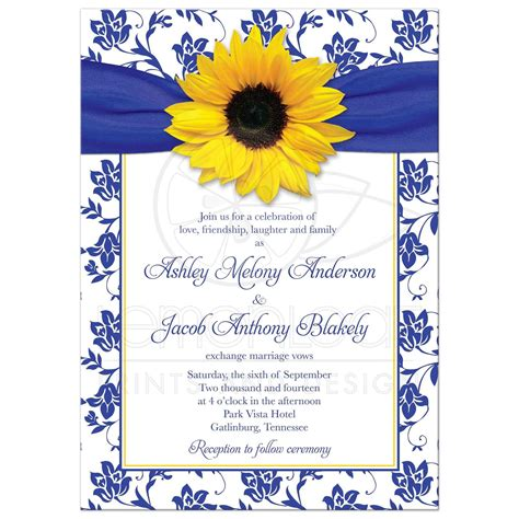 wedding invitation yellow motif wedding invitation sunflower damask royal blue yellow