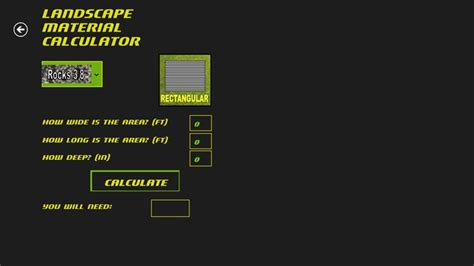 Landscape Material Calculator Windows App Lisisoft Landscape Material Calculator