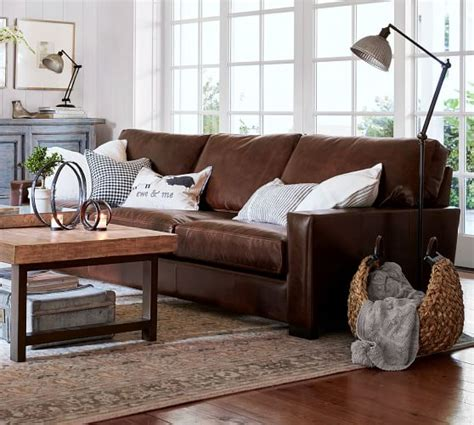 pottery barn living room furniture turner square arm leather sofa pottery barn