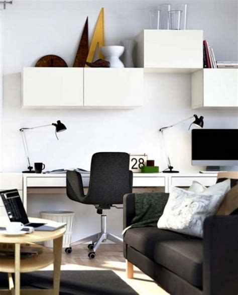Black And White Desk Chair Design Ideas Minimalist Home Office Style With Small Space White Desk Black Chair White Storage And Black