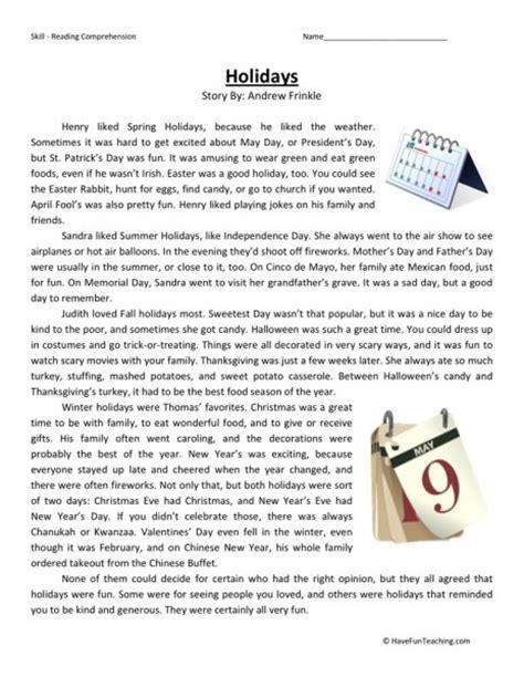 Reading Comprehension Worksheets For 6th Grade by Reading Comprehension Worksheet Holidays