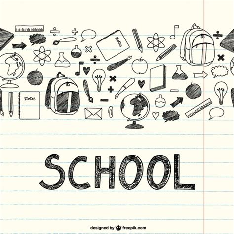 item doodle draw drawing school items on a notebook vector free