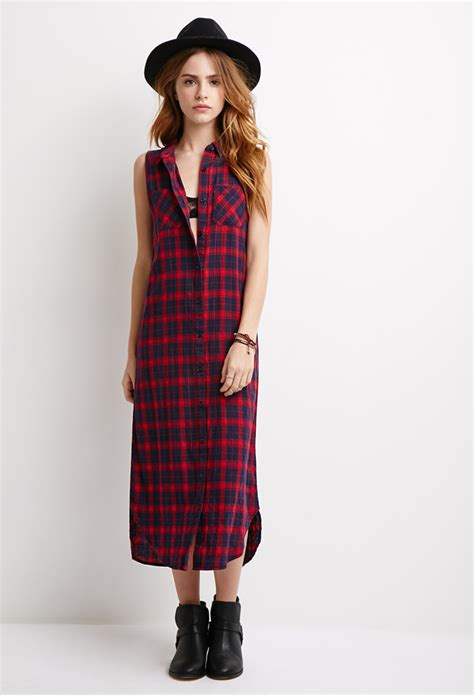 Plaid Longline Wood Button Shirt forever 21 longline plaid shirt dress in blue lyst