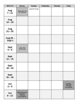 pacing calendar template for teachers 2017 2018 blank calendar pacing guide editable by
