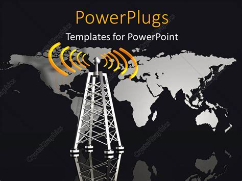 template powerpoint radio powerpoint template metallic radio tower with glowing