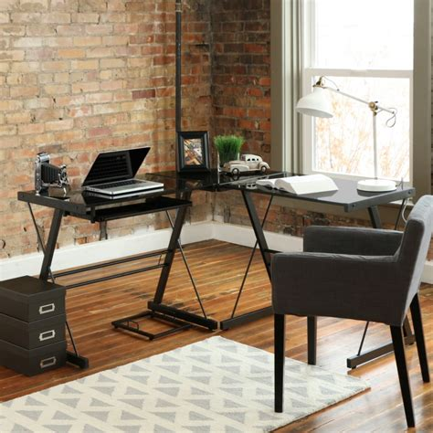 black glass l shaped computer desk 21 computer desk designs ideas plans design trends