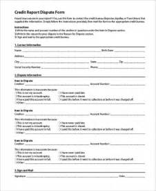 Credit Bureau Form Letters Credit Dispute Form Sles 9 Free Documents In Word Pdf