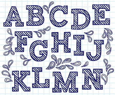 Hand Drawn Pattern Font   blue hand drawn font shaded letters and decorations