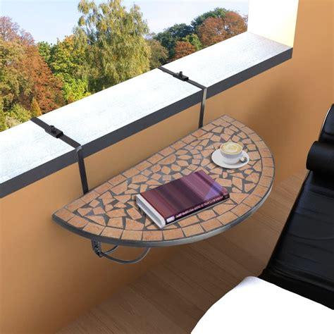 hanging balcony table ikea mosaic balcony table hanging semi circular terracotta vidaxl co uk