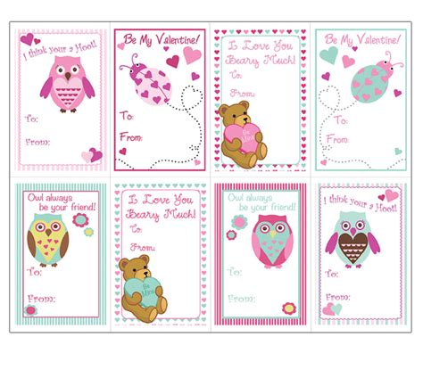 valentines cards templates animals cards templates for