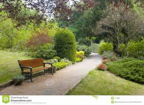 Free Wood Garden Bench Plans by Garden Scene Royalty Free Stock Image Image 779626