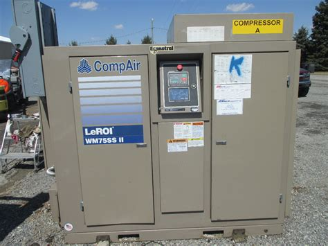 leroi we75ssiiah rotary srew air compressor 75hp 72 000 hours daves industrial surplus llc