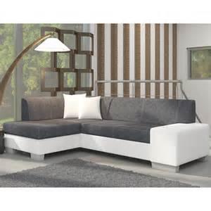 canap 233 d angle avec lit d appoint gris et blanc en tissu et pu