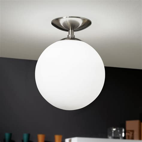 White Glass Ceiling Light Eglo 91589 Rondo Opal White Glass Globe Ceiling Light