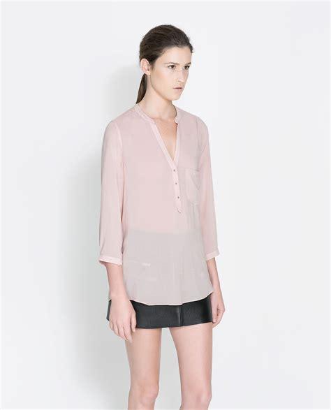Zara Bordir Blouse 1 zara blouse with three quarter length sleeve in pink lyst