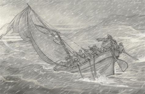 boat journey drawing storm at sea p j lynch