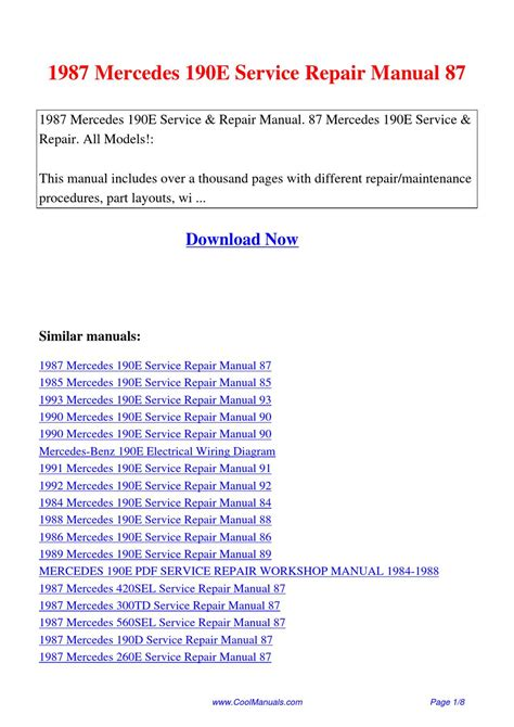 service manual 1986 mercedes benz w201 service manual free printable mercedes benz w201 car 1987 mercedes 190e service repair manual 87 by lan huang issuu