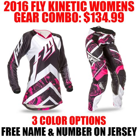 womens motocross gear combos 2016 fly racing kinetic womens gear combo pro style mx