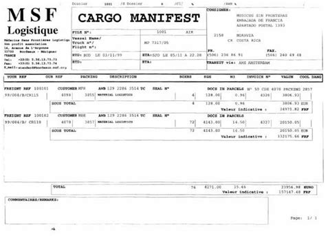 Dangerous Cargo Manifest Bing Images Shipping Manifest Template