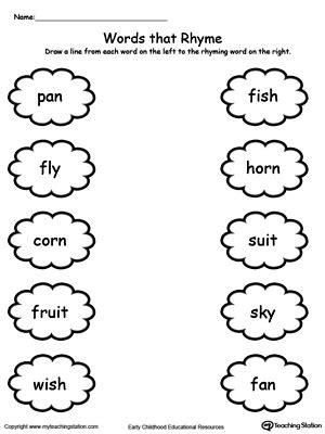 words that rhyme with bed kindergarten rhyming printable worksheets