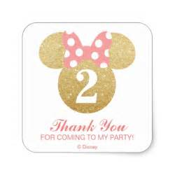 minnie mouse gold amp pink thank you square sticker