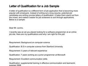 letter of application letter of application qualifications