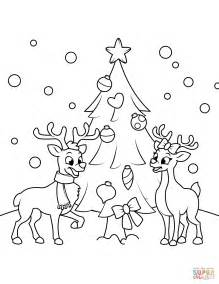 international christmas tree coloring page dibujo de renos cerca del 225 rbol de navidad para colorear