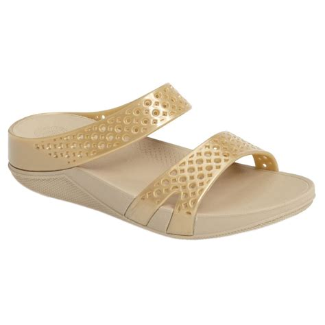 gold jelly sandals fitflop welljelly z slide gold womens mule style soft