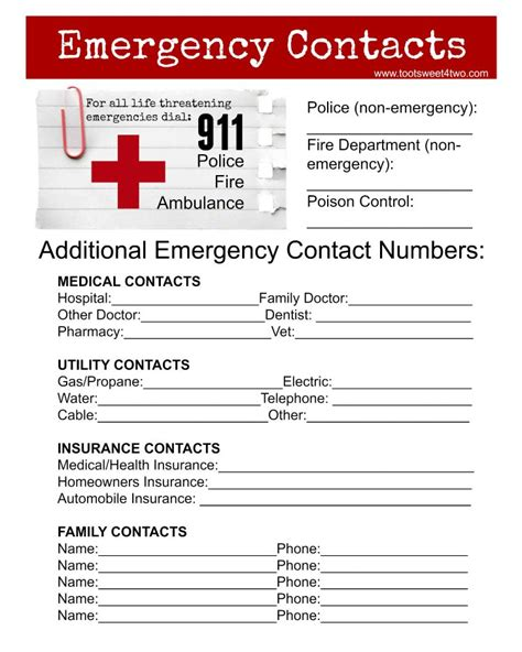free in of emergency card template emergency contact sheet are you ready toot sweet 4 two