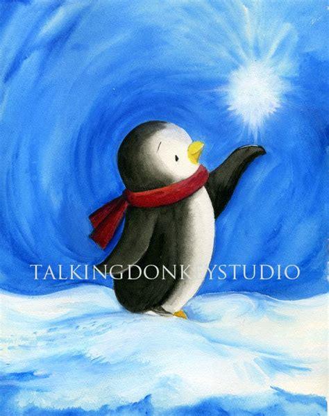 painting penguin room decor baby penguin frosty arctic snowy boy
