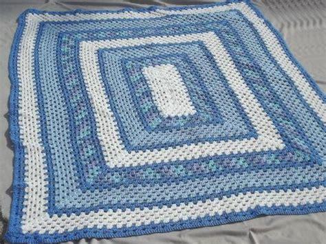 Used Crystal Chandeliers For Sale Vintage Blue Amp White Crochet Afghan Huge Crocheted Granny