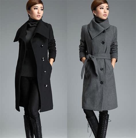 Jaket Coat Wool Winter Musim Dingin gray wool trench coat tie belt lapel winter warm thick woolen jacket overcoat