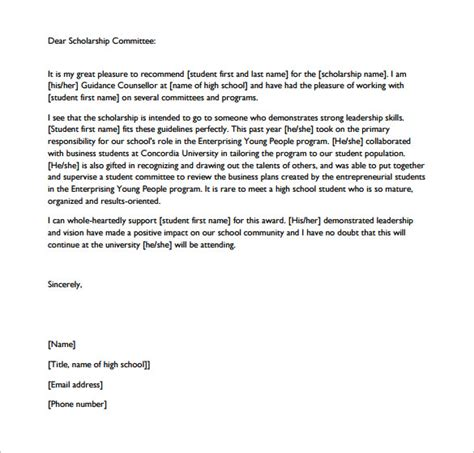 High School Scholarship Letter Of Recommendation Template Letters Of Recommendation For Scholarship 26 Free Sle Exle Format Free Premium