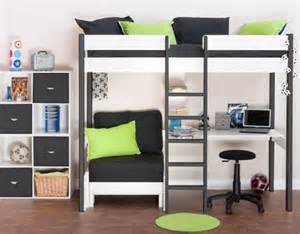 uno 5 nero high sleeper with desk pullout chairbed