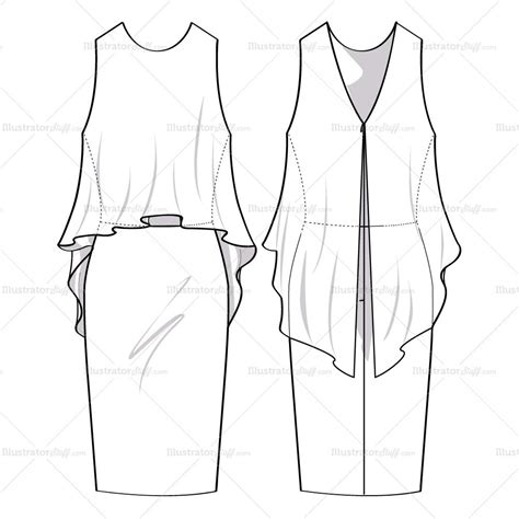 dress template for adobe illustrator women s flowy dress fashion flat template illustrator stuff