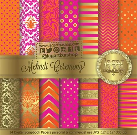 indian wedding invitations labels mehndi ceremony gold pink tangerine orange indian