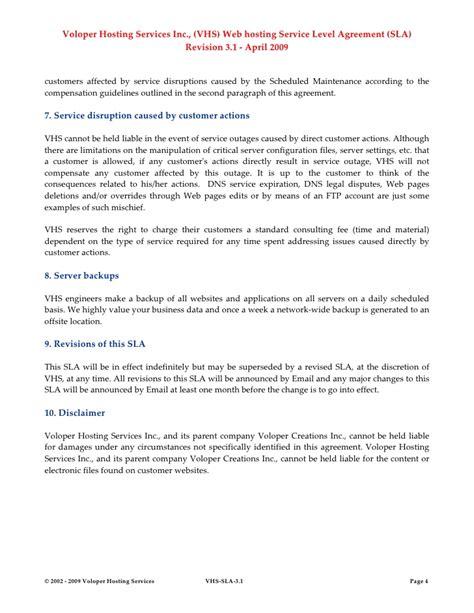 Sl Agreement Gallery Agreement Letter Format Hosting Sla Template