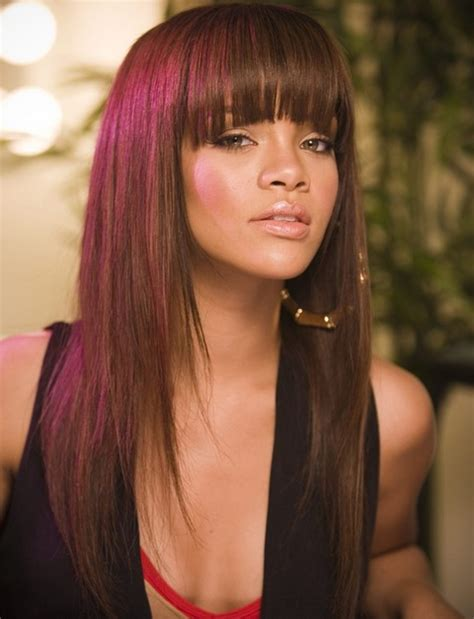 blunt bangs and how to style it for round faces rihanna long hairstyles lovely layered haircut with blunt