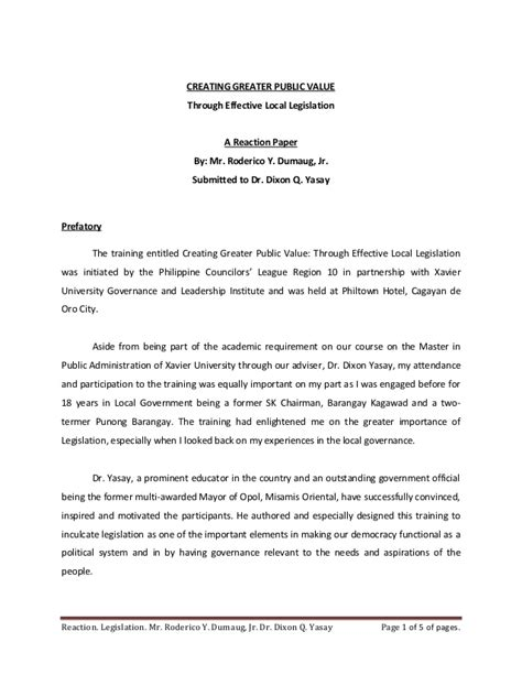 layout of seminar paper public policy formulation and implementation reaction to