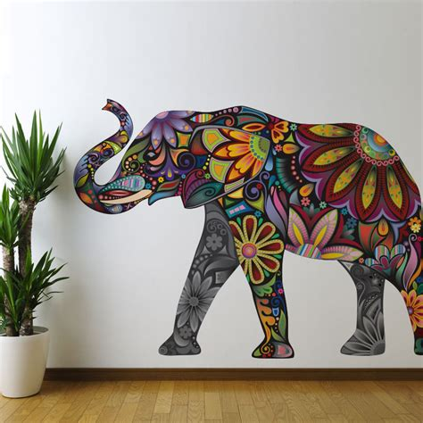 Elephant Wall Decor by Elephant Graphic Wall Sticker Decal Colorful By Mywallstickers