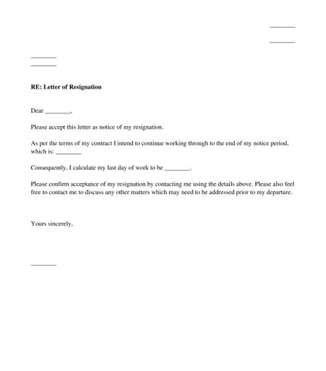 letter resignation employment sample template