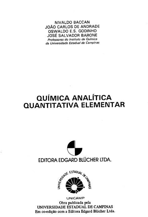 Química Analítica Quantitativa Baccan Livro PDF - Análise Qual