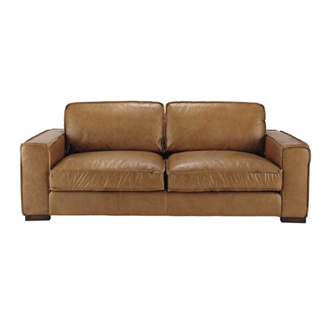 3 seater leather vintage sofa in camel colonel maisons