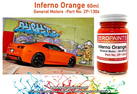 inferno orange general motors paint 60ml zp 1304 zero paints