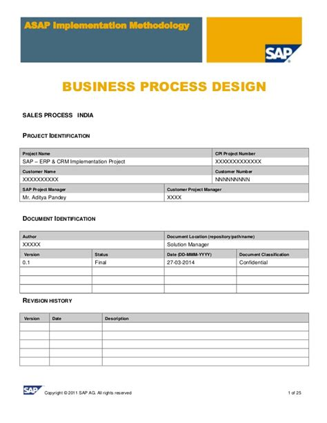 Business Blueprint Template sap sd business blue print e1 sales template