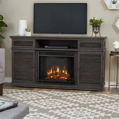 gray fireplace real cavallo 59 in entertainment electric fireplace